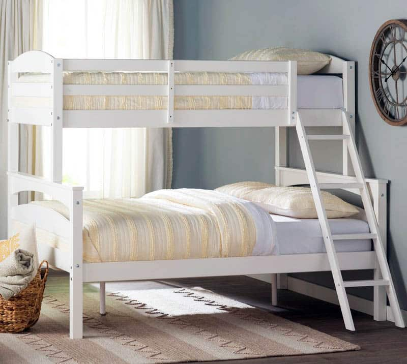 Twin over full bunk bed painted white