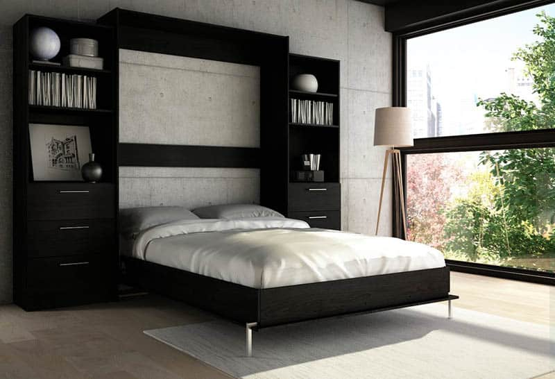 Wood murphy bed with low profile design