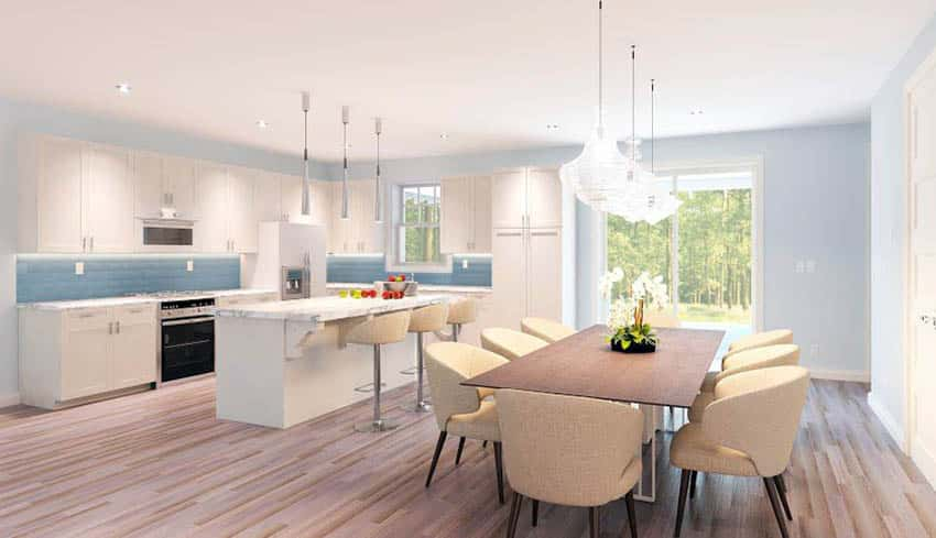 Contemporary kitchen with light blue painted walls and off white cabinets and light wood flooring