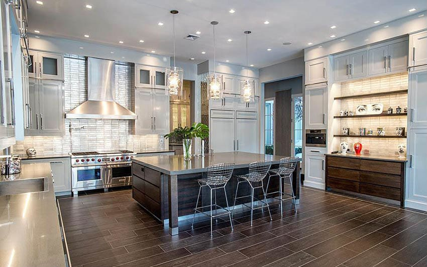 Contemporary kitchen with pewter gray cabinets and gray semi gloss painted walls