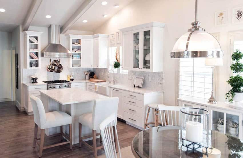 Corner kitchen with blended design bright white paint and white cabinets