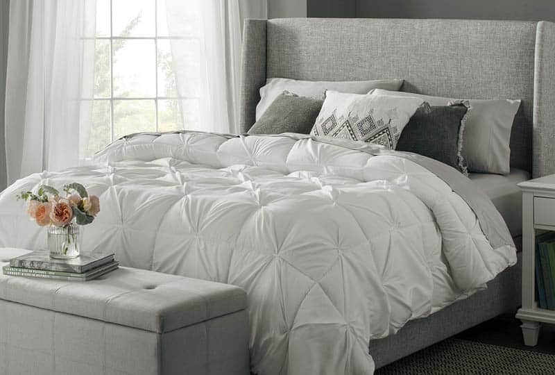 Goose feather pillow on bed