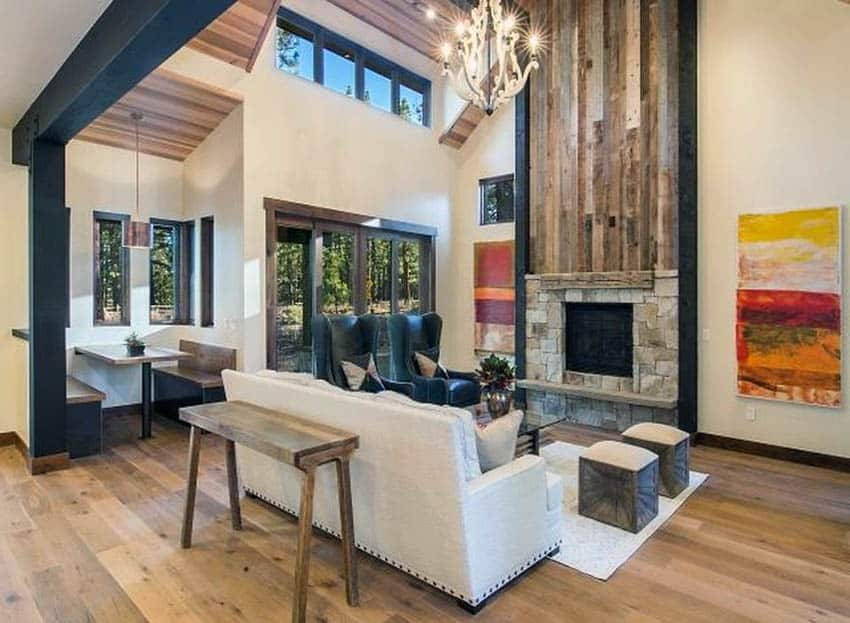 Living room with reclaimed wood and stone fireplace
