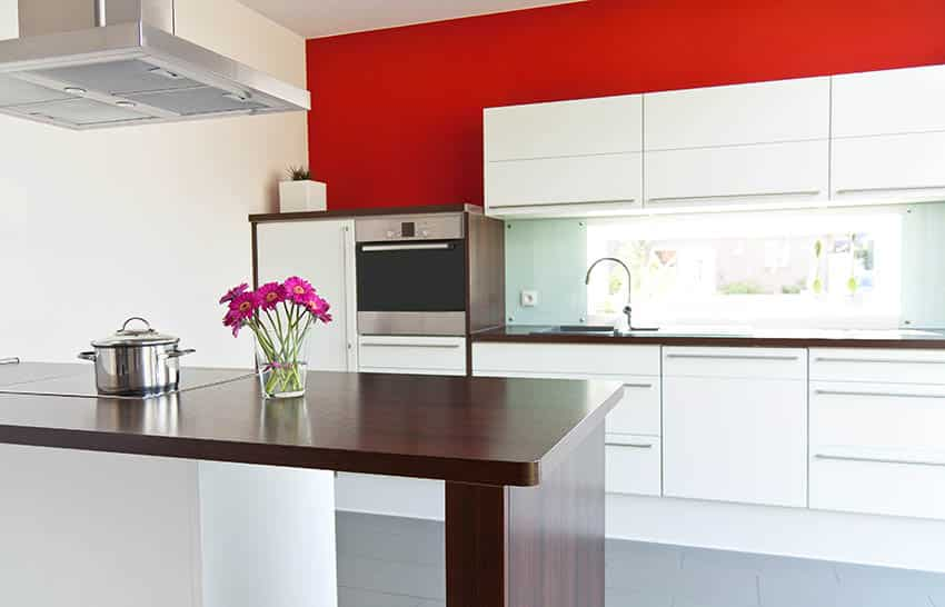 Modern white cabinet kitchen with red painted wall