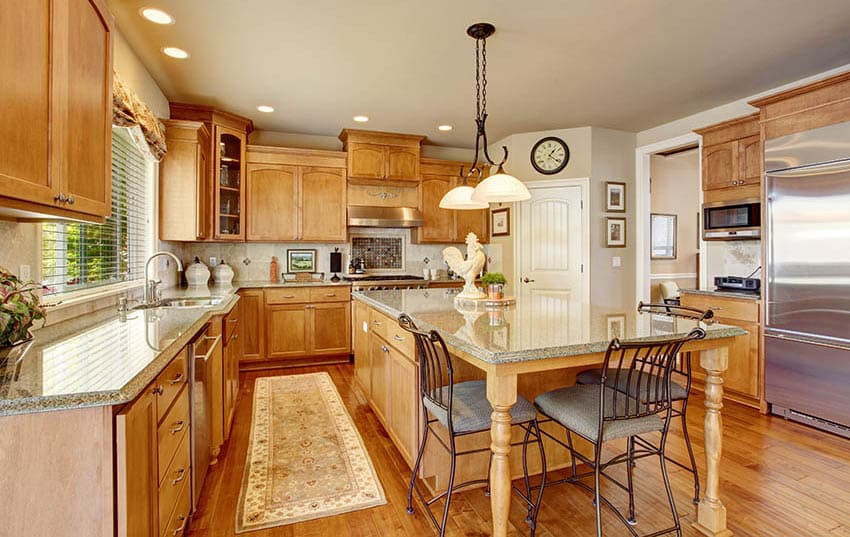 Traditional kitchen with oak cabinets and light brown color paint