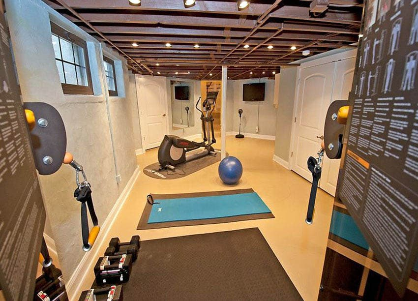 Basement home gym with rubber floor mats