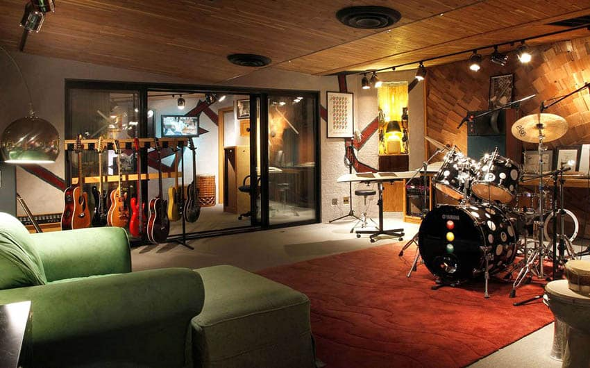 Basement music room with concrete floors