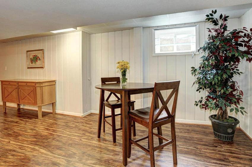 Basement with laminate wood flooring