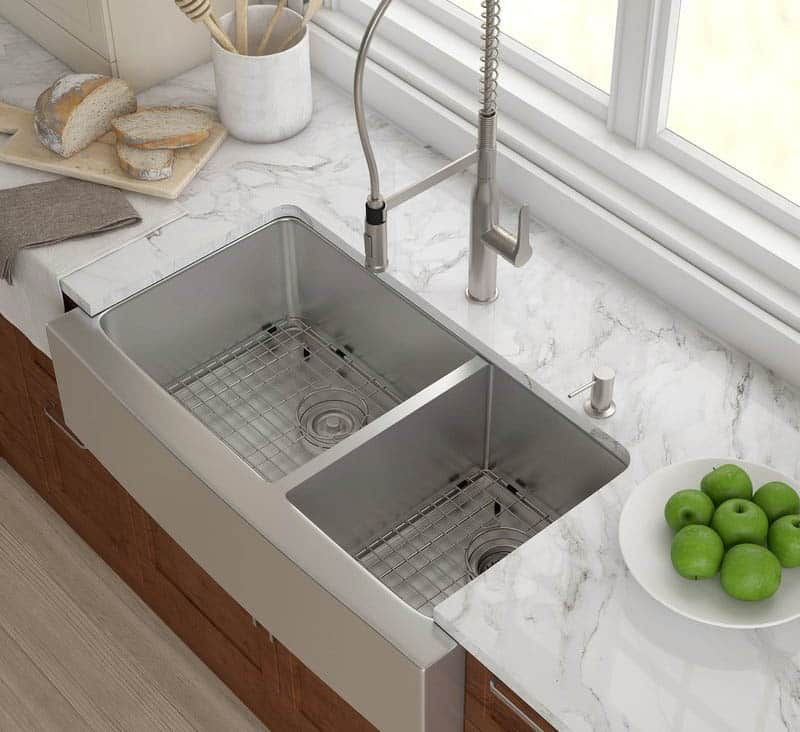 Deep double basin kitchen sink in stainless steel