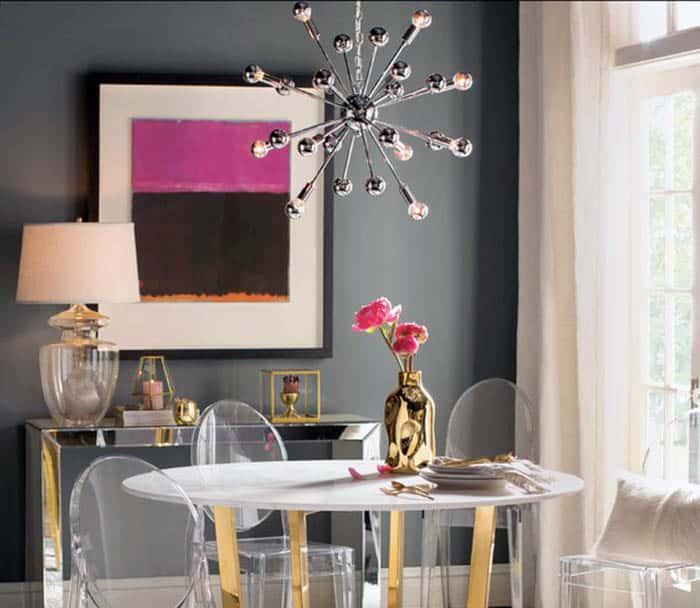 Dining room with modern sputnik chandelier with 12 lights