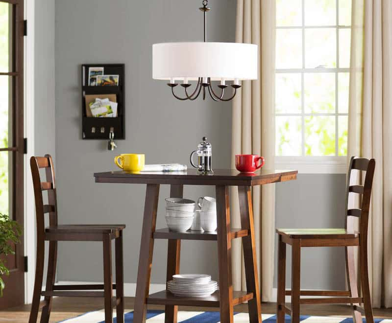 Drum pendant light fixture for small dining room table