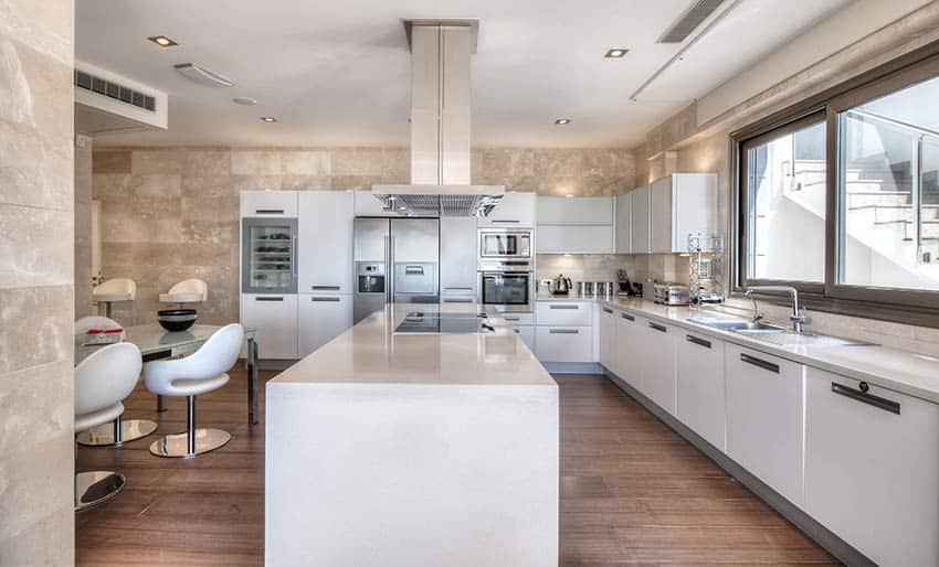 European style kitchen with white thermofoil cabinets with c channel door hardware