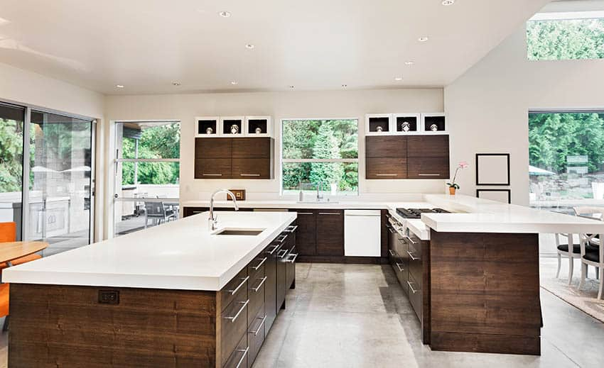 Kitchen with european cabinets with stainless steel pull door hardware