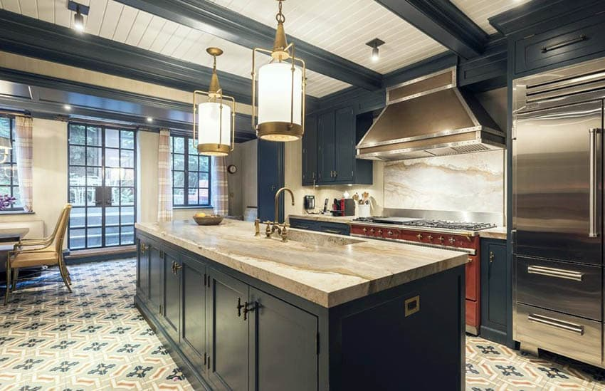 Kitchen with integrated sink in island with beige marble