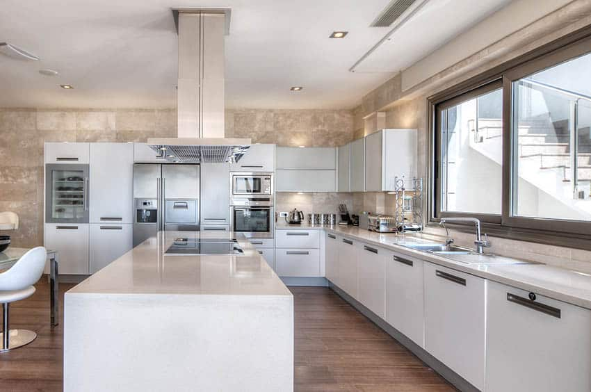 Large modern kitchen with top mount stainless steel sink and white acrylic cabinets