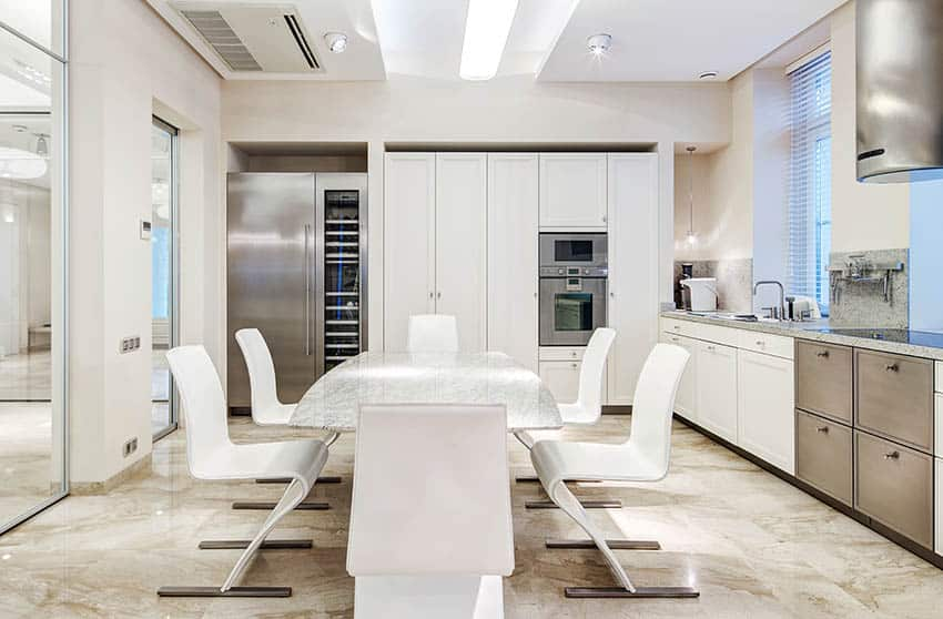 Modern european kitchen with white cabinets and stainless steel appliances