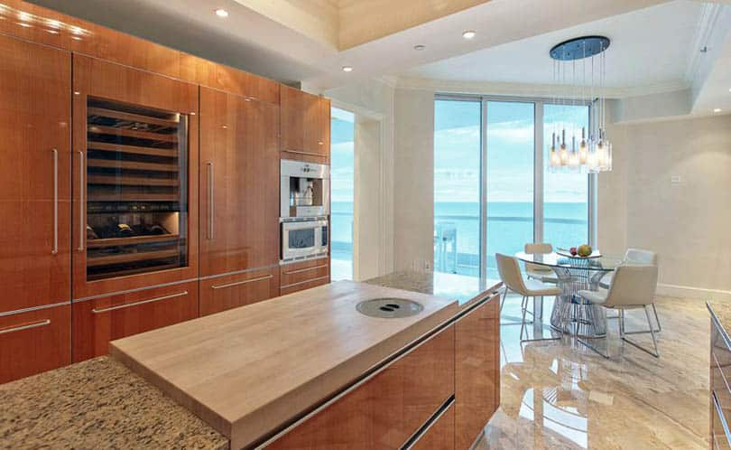 Modern kitchen with european cabinets and concealed hinge door hardware
