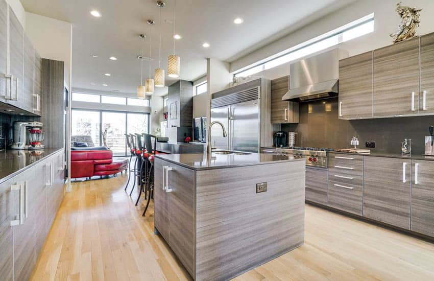 Modern kitchen with european cabinets light maple flooring and l shaped island