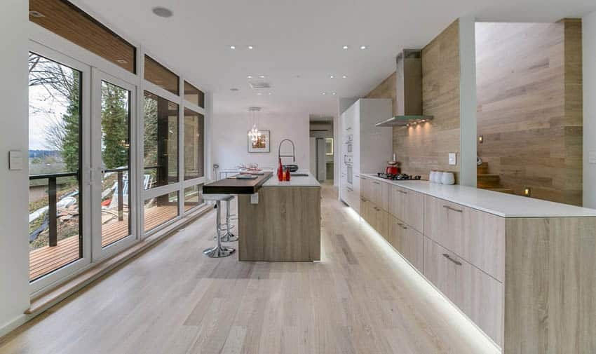Modern kitchen with laminate cabinets with wood flooring