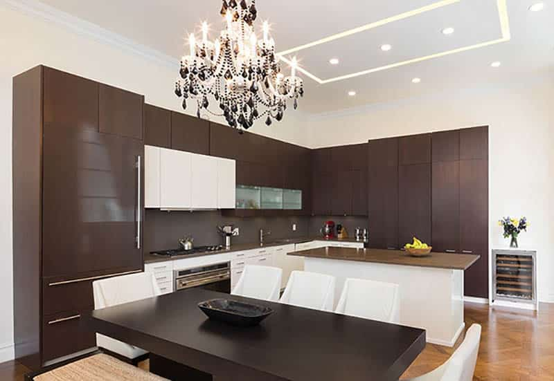 Modern kitchen with slab wood cabinets