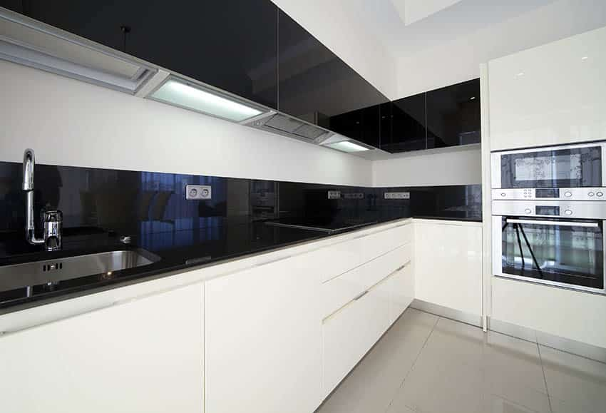 Modern kitchen with white lower cabinets black upper cabinets and black counters