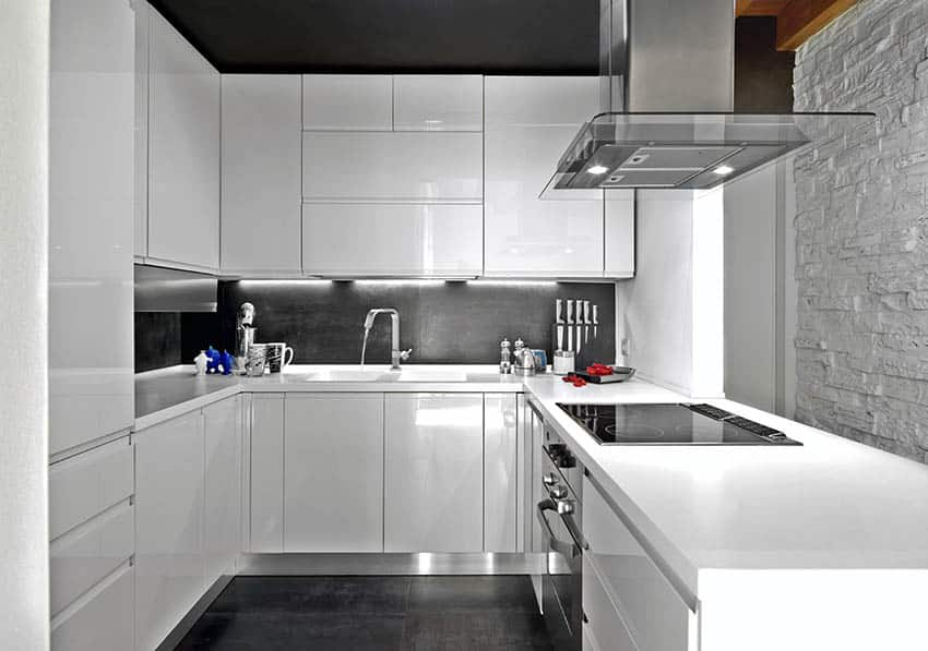 Small modern u shape kitchen with white cabinets