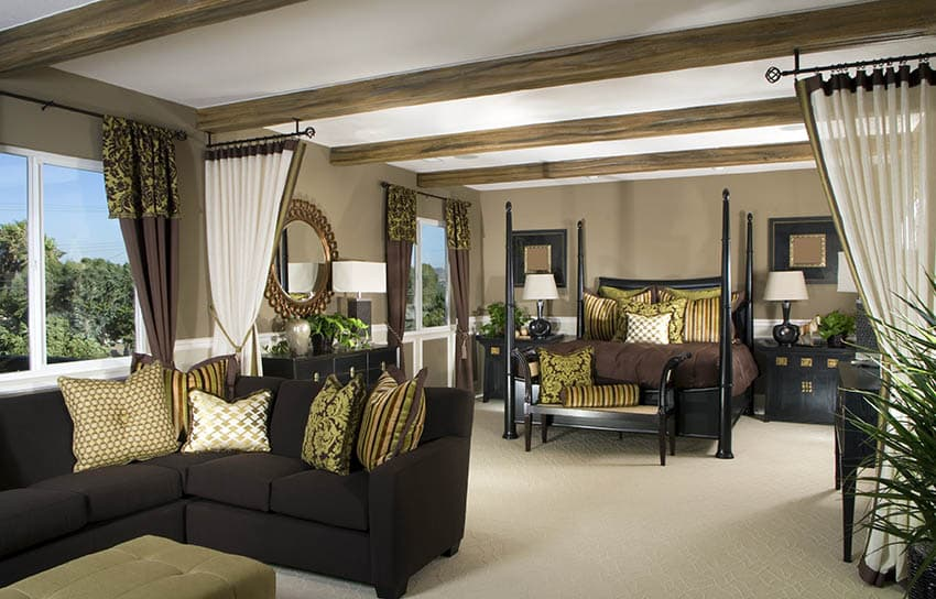 Living room bedroom combination with curtain divider