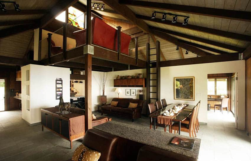 Living room with loft bed
