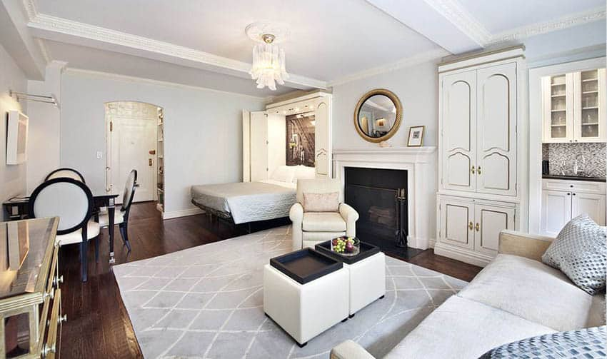Studio apartment with small living room white kitchen and bedroom murphy bed