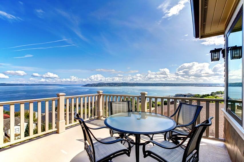 Beautiful ocean view open balcony patio area located in Washington
