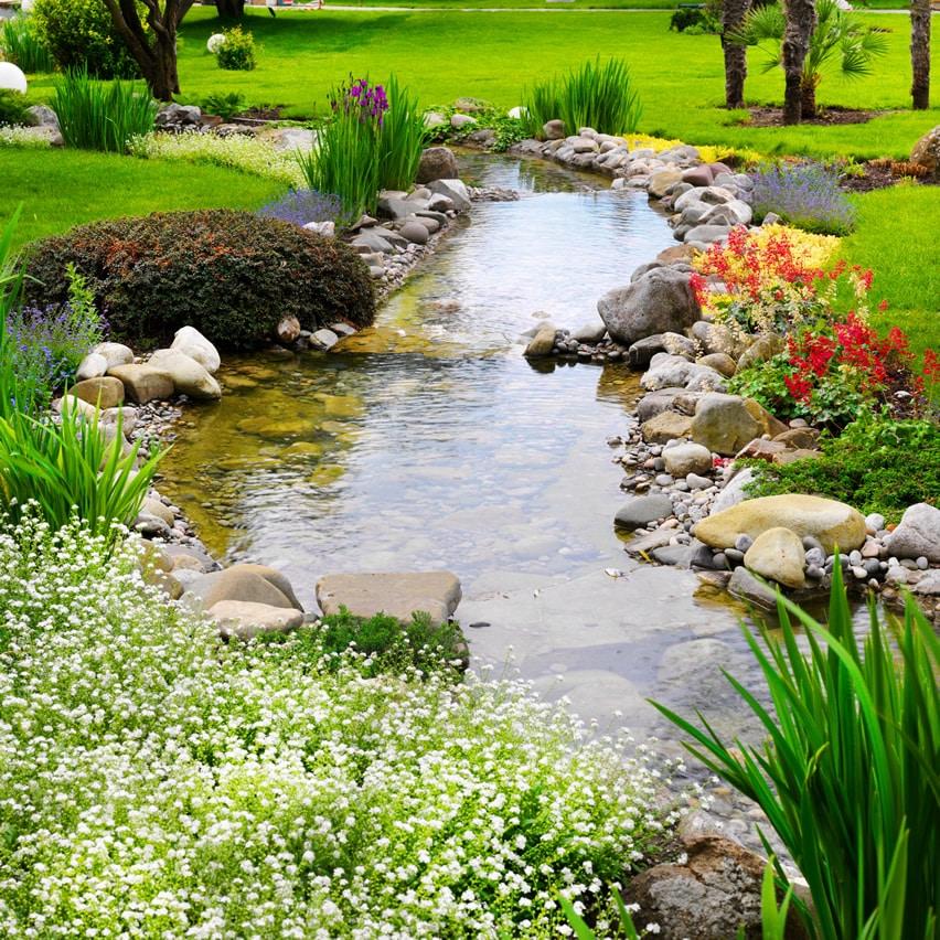 Water feature stream in asian garden