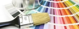 Paint color chart with brush