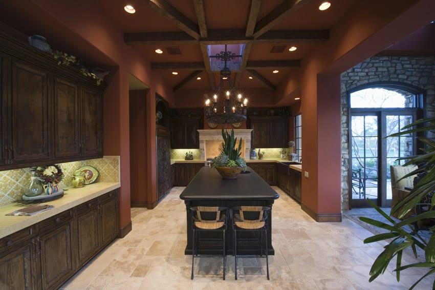 High ceiling luxury kitchen with dark wood