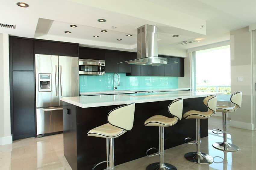 Modern kitchen with aqua backsplash