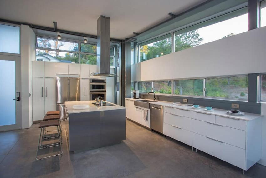 Modern kitchen with concrete floors