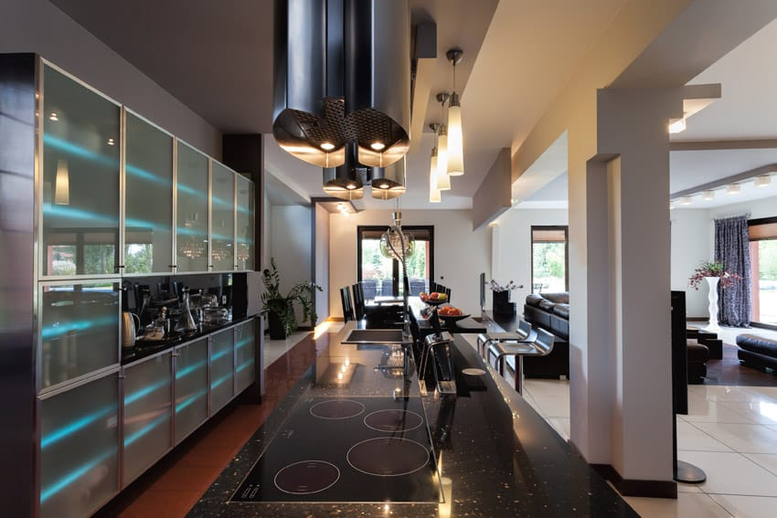 Ultra modern kitchen with mood lighting