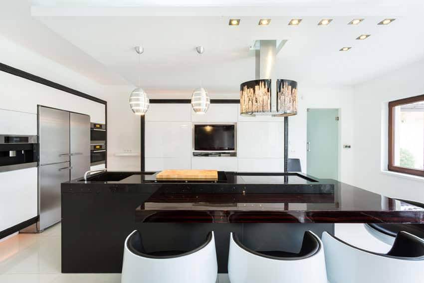 Modern kitchen with retro seating