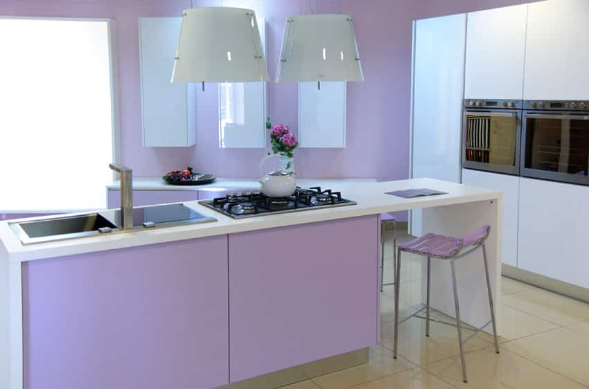 Lilac and white modern kitchen design