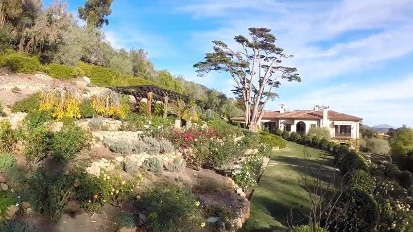 Ocean view Mediterranean style house from garden