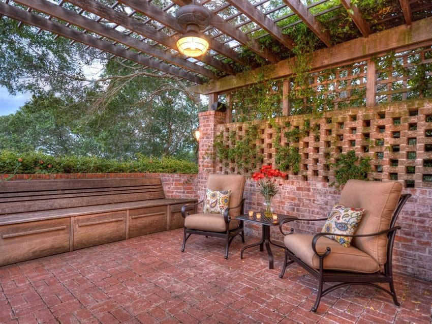 Rustic brick patio with wood pergola
