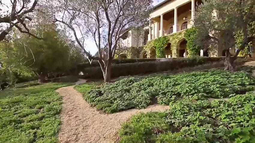 Walkway in yard of luxury home