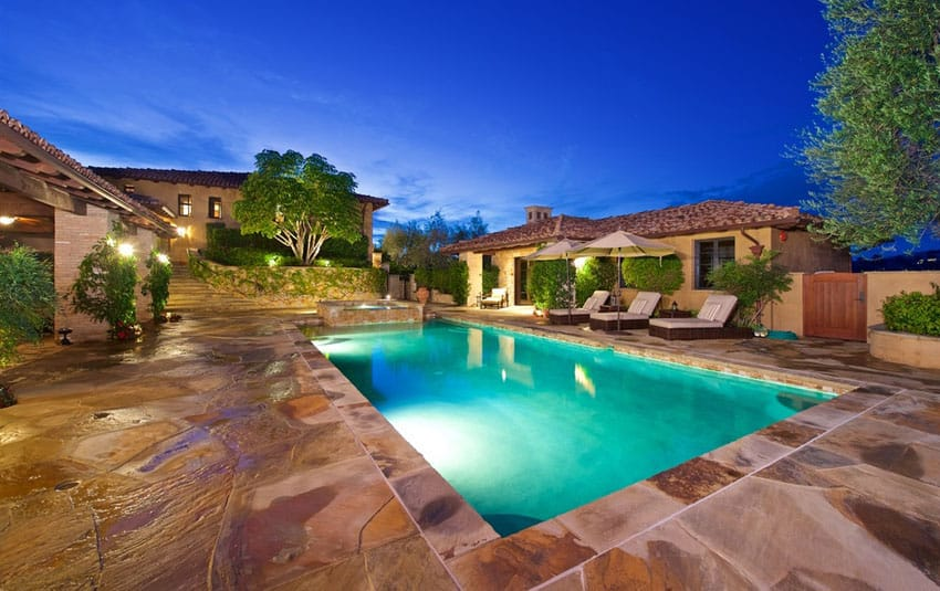 Beautiful swimming pool at Italian style house