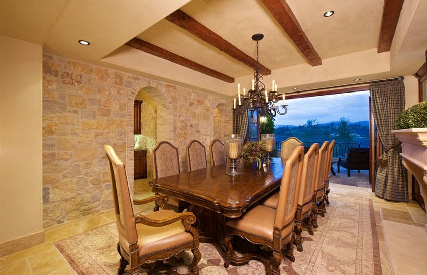 Italian style dining room with open outdoor view