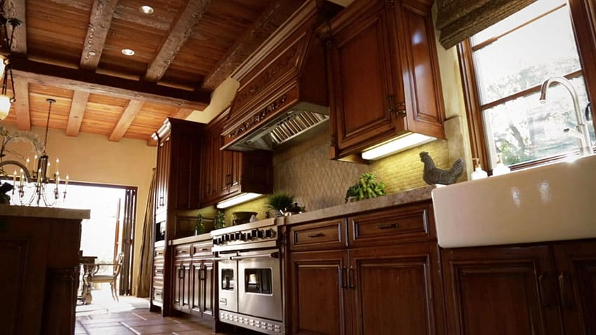Italian style kitchen with farmhouse sink wood ceiling