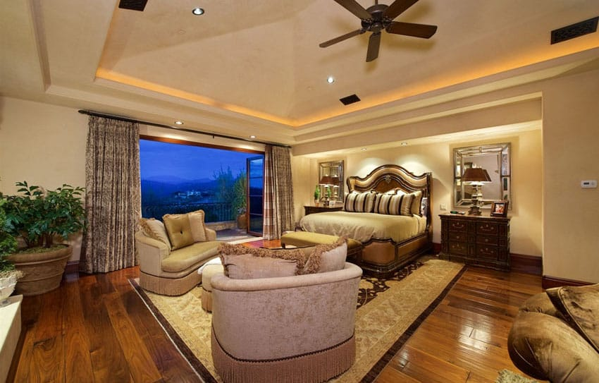 Luxury master bedroom with amazing open view balcony