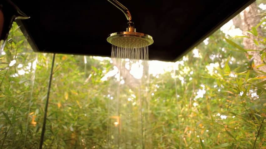 Rainfall shower with view of outdoors