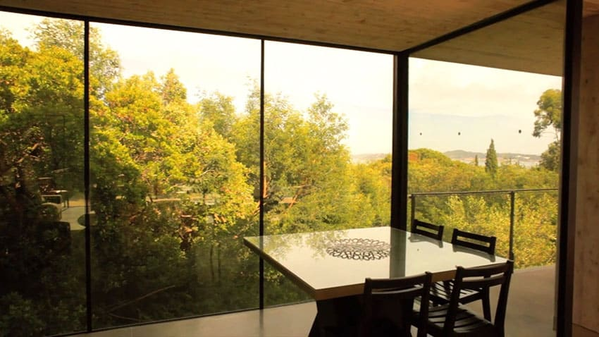 Second story view from concrete and glass modern home