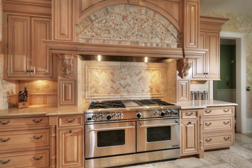 Traditional kitchen with opal brown marble counters