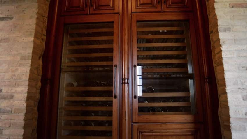 Wine storage closet at luxury house