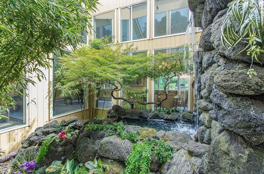 Backyard Asian garden with waterfall